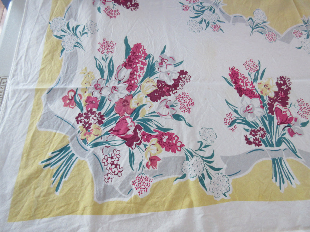 Spring Hyacinths on Yellow Cutter Floral Vintage Printed Tablecloth (57 X 50)