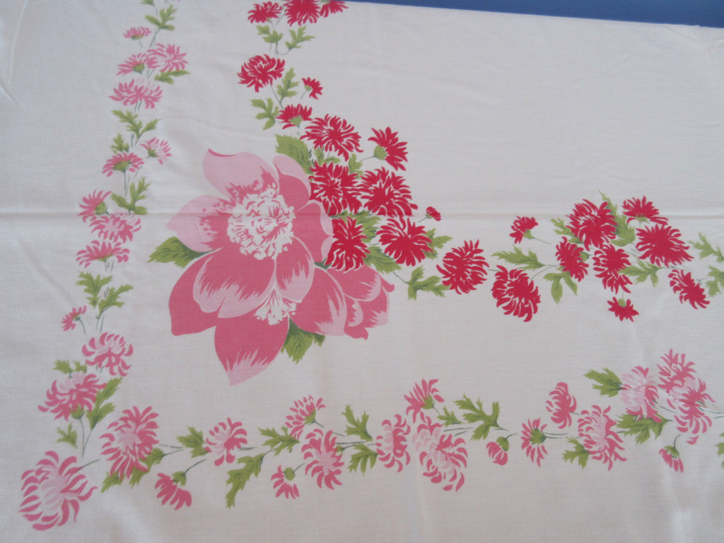 Pink Wild Roses Bee Balm Shabby Floral Vintage Printed Tablecloth (66 X 50)
