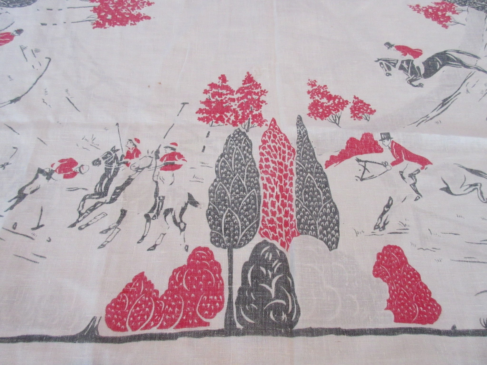 Red Black Horses Hunting Novelty Cutter Vintage Printed Tablecloth (50 X 48)