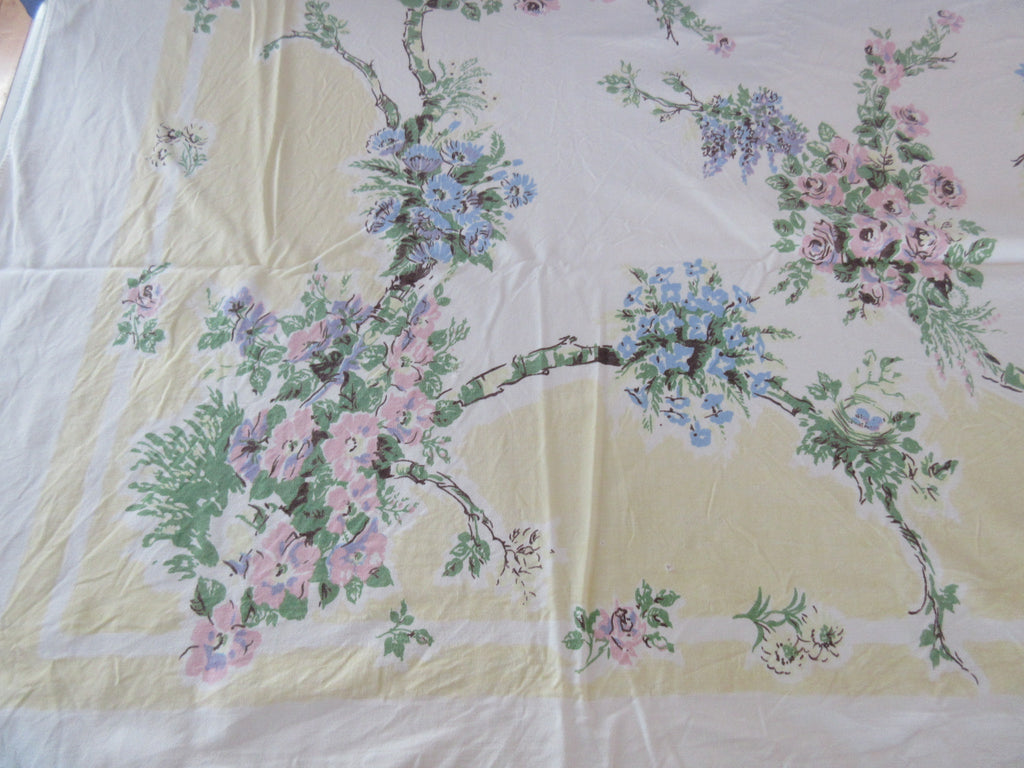 Shabby Flowers Bird Nests on Yellow Cutter Floral Vintage Printed Tablecloth (61 X 51)