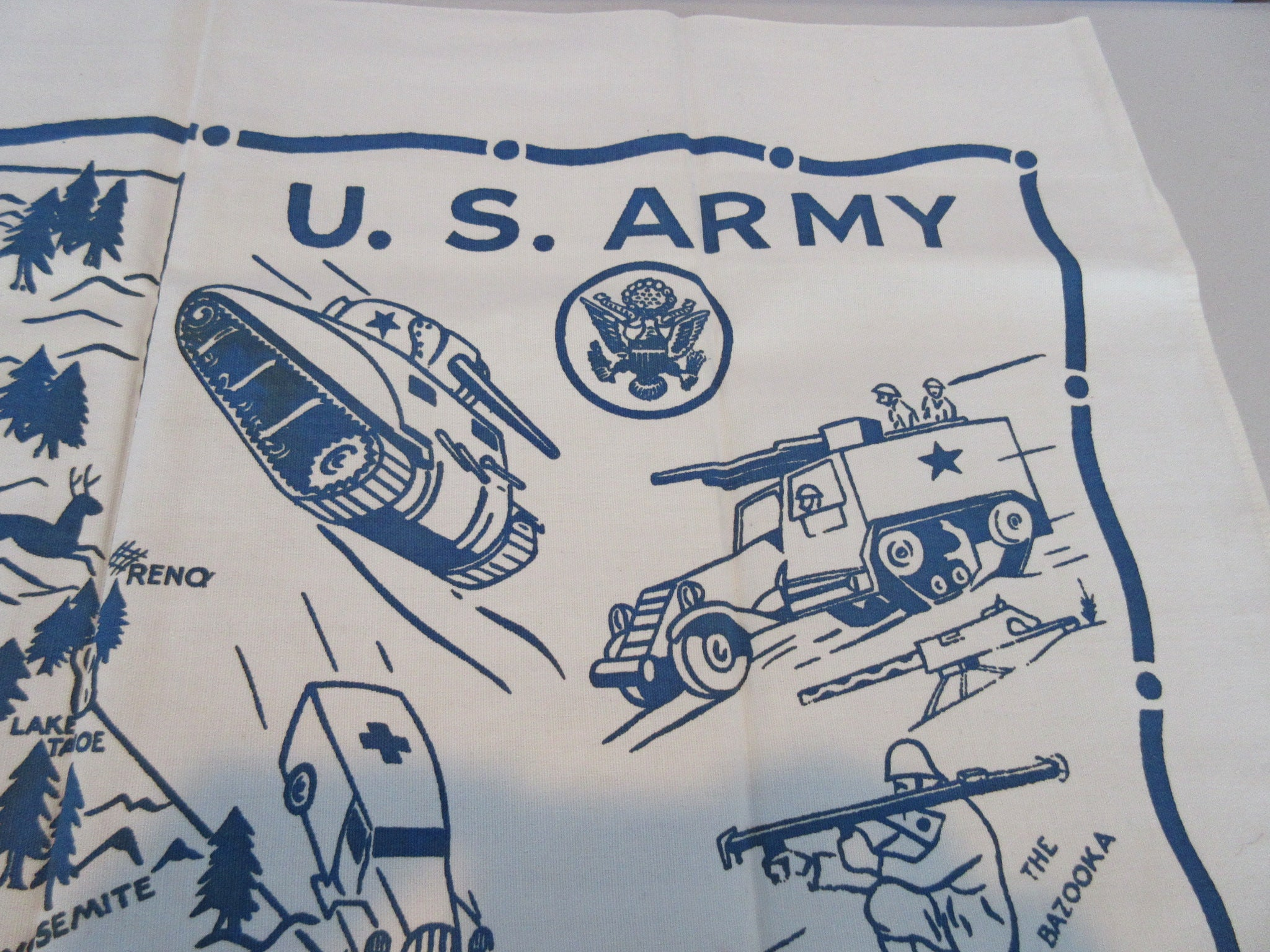US Army California State Unwashed Souvenir  Vintage Printed Tablecloth