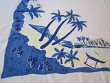 Palm Trees Hawaii Tropical Damask Novelty Vintage Printed Tablecloth (57 X 51)