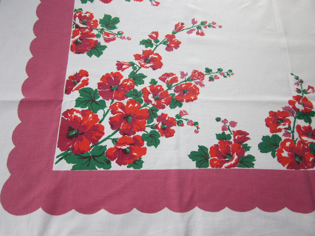 Red Green Hollyhocks on Pink Floral Vintage Printed Tablecloth (51 X 46)