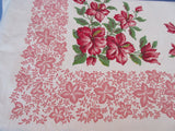 Heavy Red Hibiscus on Pink Floral Vintage Printed Tablecloth (72 X 56)