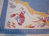 Blue Gingham Animals Turkey Sheep Novelty Vintage Printed Tablecloth (52 X 46)