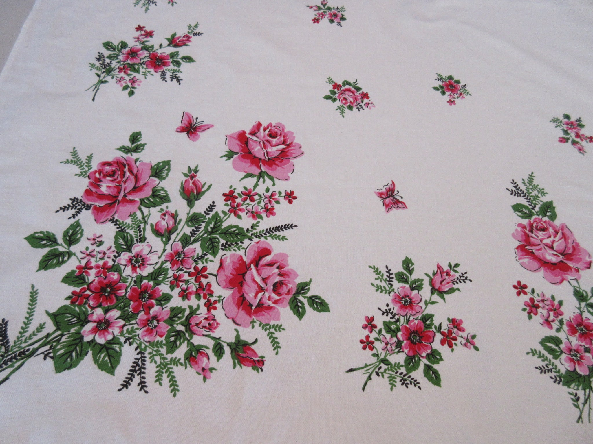 Pink Green Roses and Butterflies Broderie Unused Floral Vintage Printed Tablecloth (64 X 52)