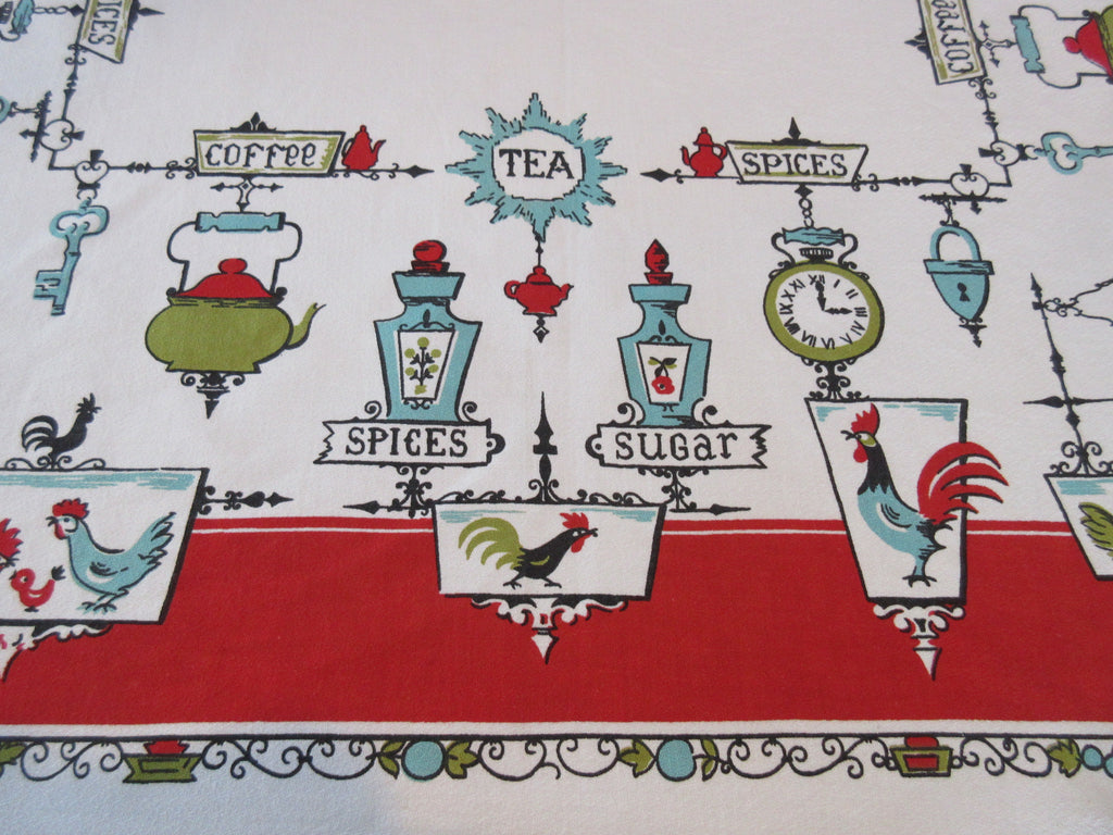 Funky Roosters Spices on Red Novelty Vintage Printed Tablecloth (53 X 48)