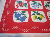 Primary Simtex Fruit Tiles Yellow Blue Green on Red Vintage Tablecloth (52 X 46)