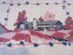 Startex Ranch House on Mauve Novelty Vintage Printed Tablecloth (54 X 48)