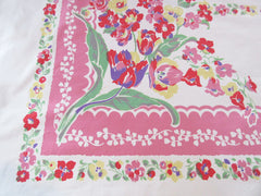 Large Heavy Primary Tulips Flowers on Pink Floral Vintage Printed Tablecloth (54 X 48)