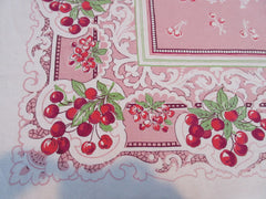 Rustic Red Cherries on Pink Scrolls Vintage Printed Tablecloth (50 X 50)
