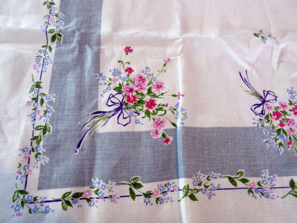 Pretty Pink Nosegays on Gray Linen Floral Vintage Printed Tablecloth (49 X 49)