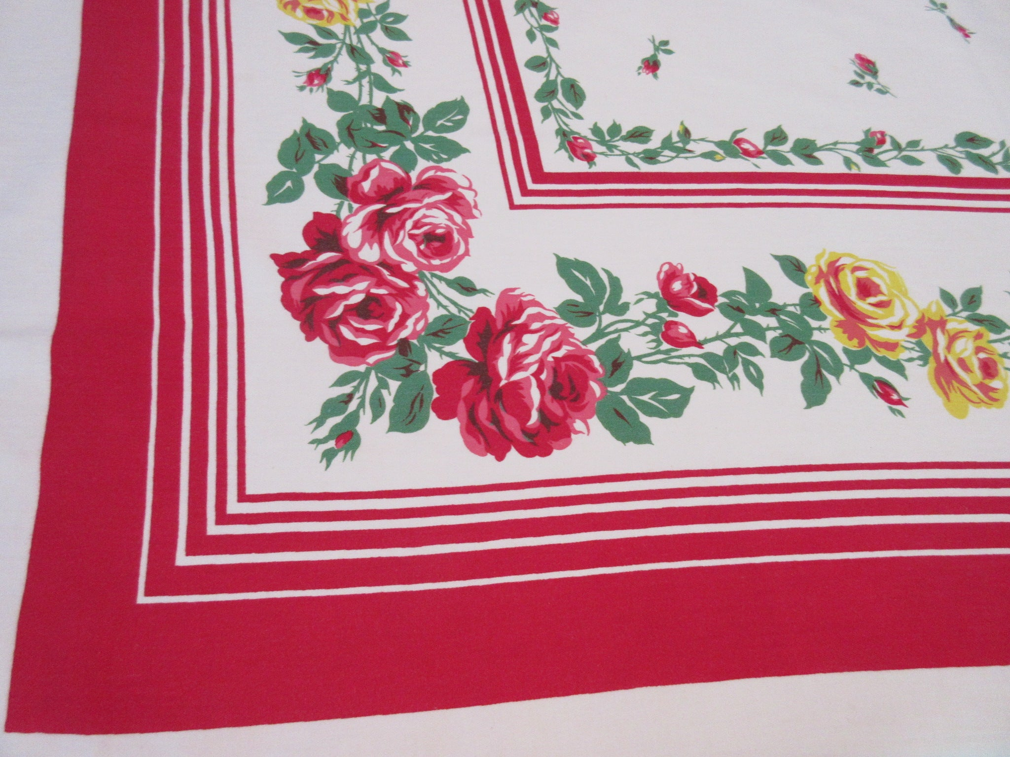 Red Yellow Roses Red Stripes Floral Vintage Printed Tablecloth (64 X 50)