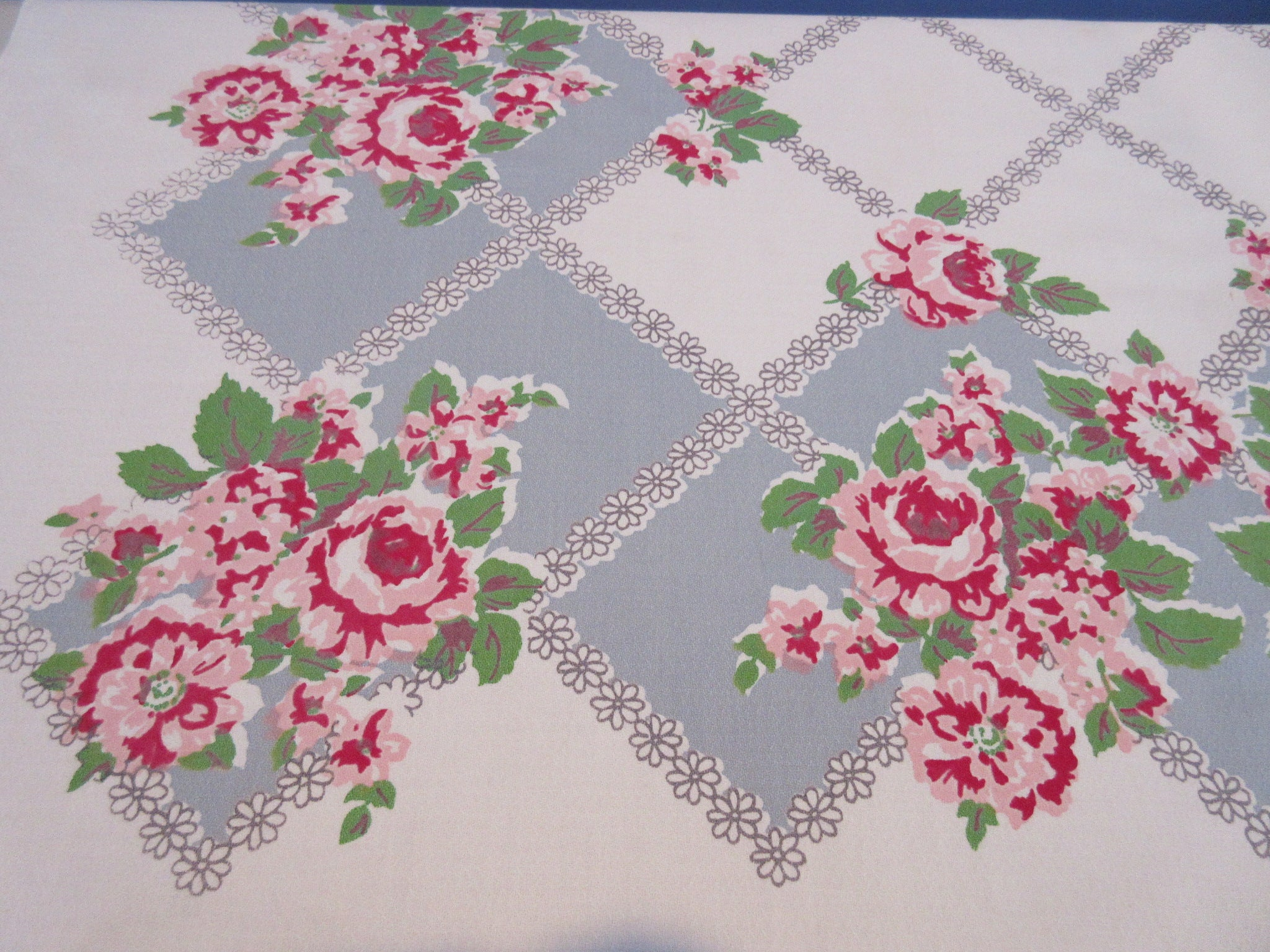 Shabby Pink Green Roses on Gray Diamonds Floral Vintage Printed Tablecloth (50 X 48)
