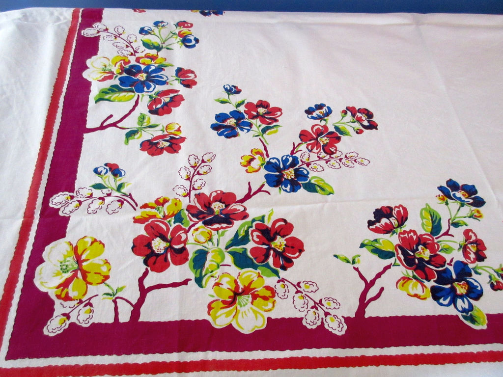 Primary Wild Roses on Magenta Cutter? Floral Vintage Printed Tablecloth (63 X 54)