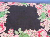 HTF Pink Red Green Tulips on Black Floral Vintage Printed Tablecloth (49 X 47)