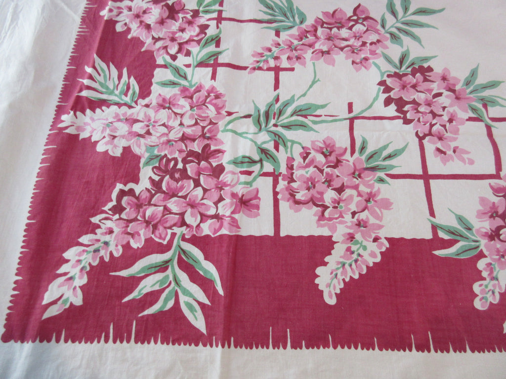 Shabby Pink Lilacs on Magenta Floral Vintage Printed Tablecloth (53 X 50)