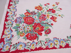 Bright Primary Flowers on Lipstick Red Floral Vintage Printed Tablecloth (50 X 46)