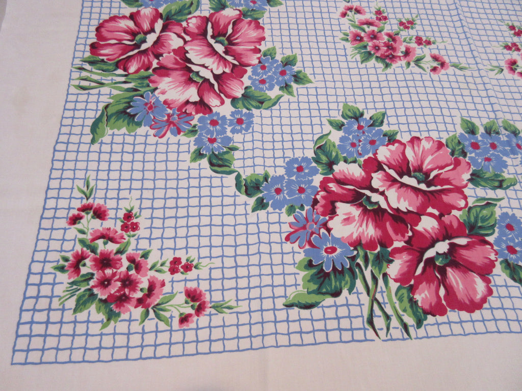 Red Poppies on Blue Grid Floral Vintage Printed Tablecloth (52 X 47)