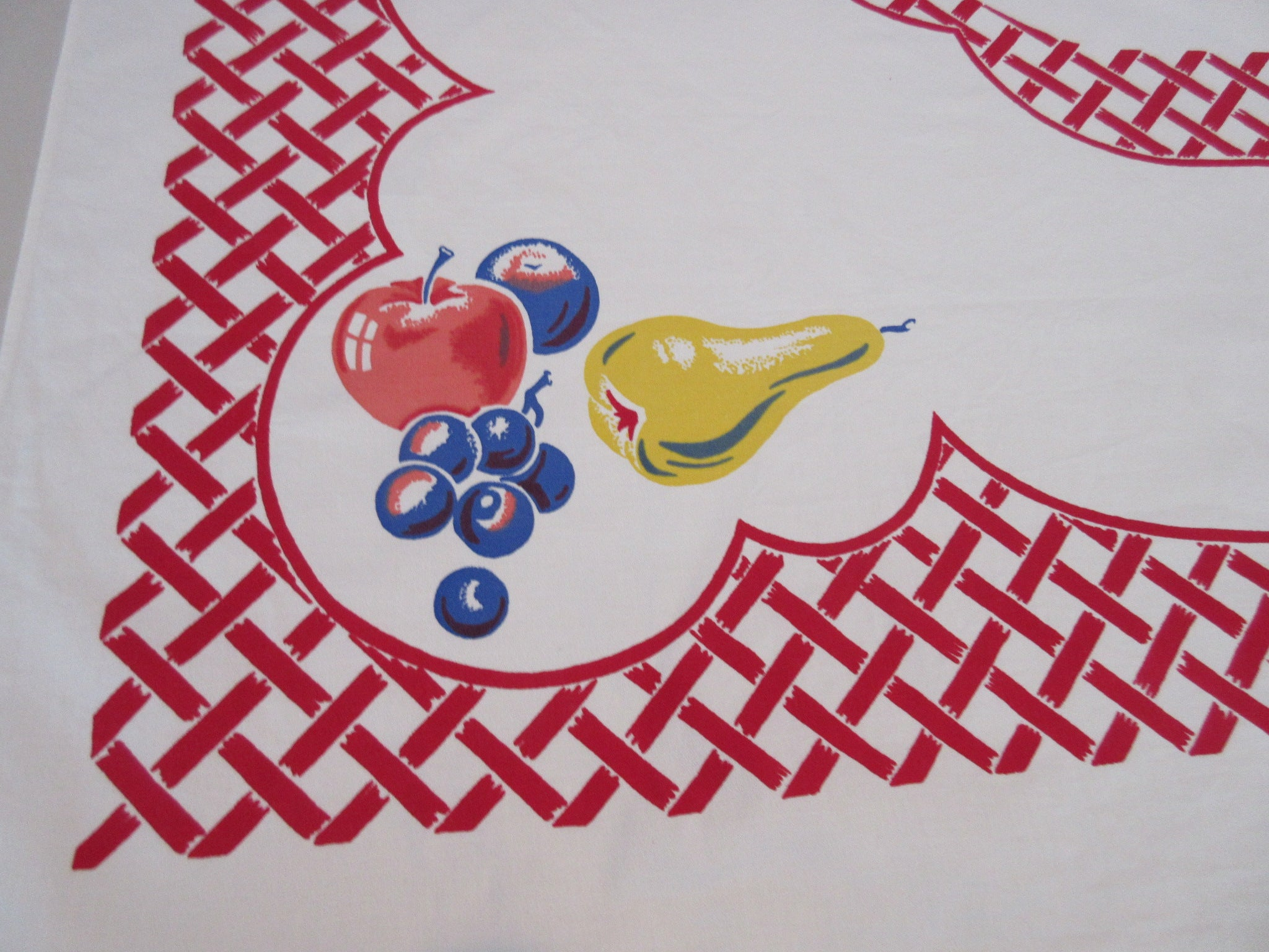 Simtex Primary Apples Pears on Red Basketweave Vintage Printed Tablecloth (67 X 52)