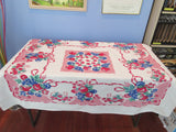 HTF Primary Fruit on Pink Vintage Printed Tablecloth (54 X 44)