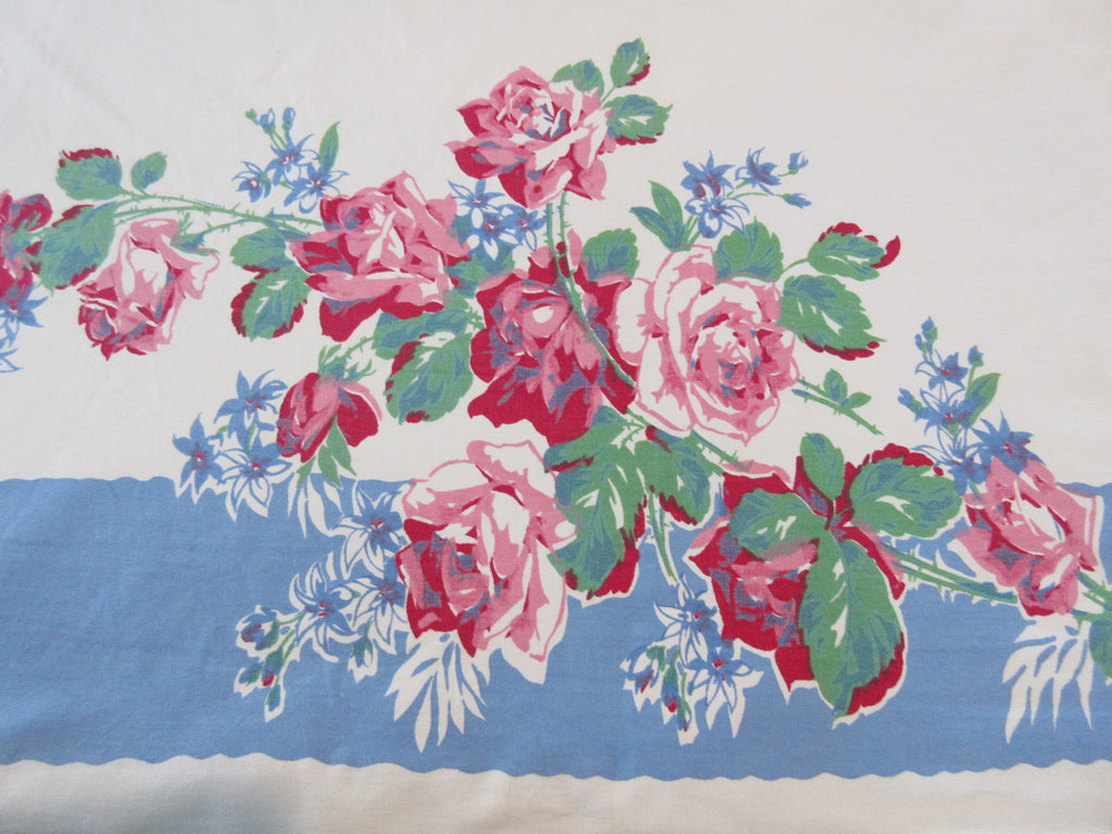 Glorious Heavy Pink Roses on Blue Floral Vintage Printed Tablecloth (70 X 53)