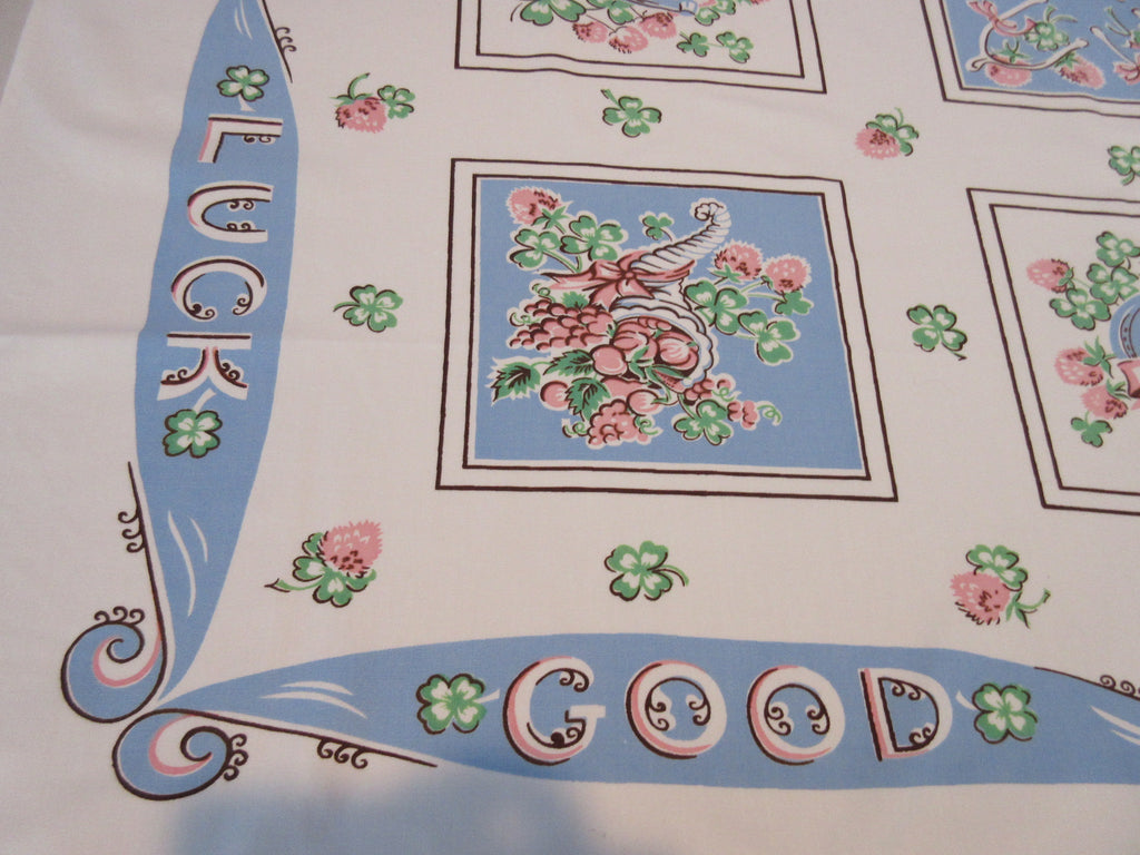 RARE Wedding Good Luck Clover BLUE Pink Novelty Vintage Printed Tablecloth (53 X 44)
