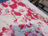 Gladioli Pussy Willow on Red Linen Cutter? Floral Vintage Printed Tablecloth (52 X 49)