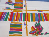 Unused Mexican Cactus Hats Serapes Novelty Vintage Printed Tablecloth (50 X 50)