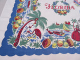 Florida State Souvenir Oranges Fishing Blue Novelty Vintage Printed Tablecloth (49 X 45)