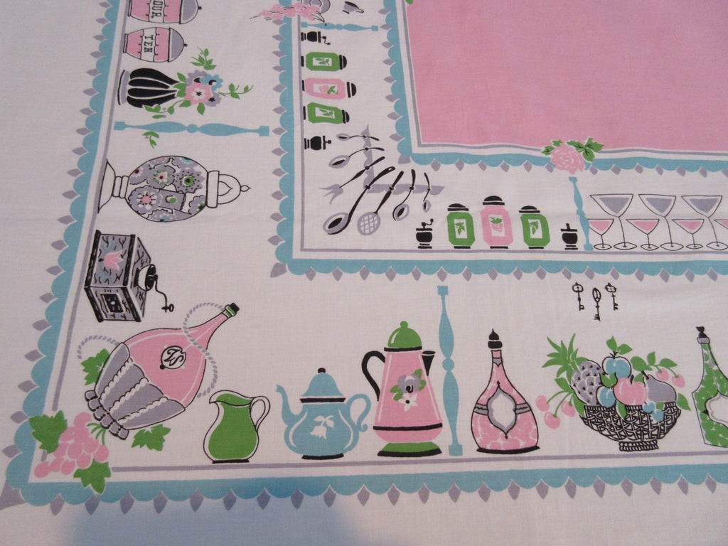 Sweet Aqua Kitschy Kitchen Shelves on Pink NWOT Novelty Vintage Printed Tablecloth (65 X 49)