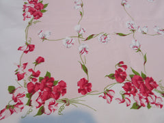 HTF CHP Sweet Peas on Pink Floral Vintage Printed Tablecloth (64 X 52)