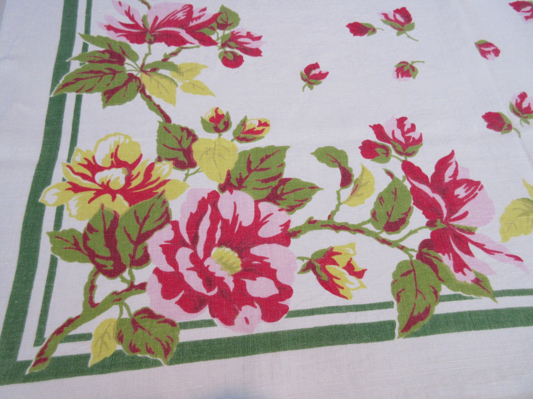 Larger Pink Yellow Wild Roses on Green Linen Floral Vintage Printed Tablecloth (50 X 48)