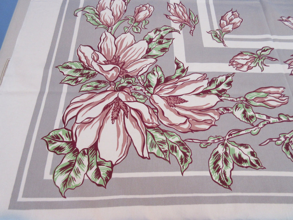 Mauve Pink Magnolias on Gray Floral Vintage Printed Tablecloth (50 X 48)