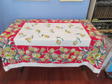 Yellow Green Tulips on Red Floral Vintage Printed Tablecloth (62 X 52)