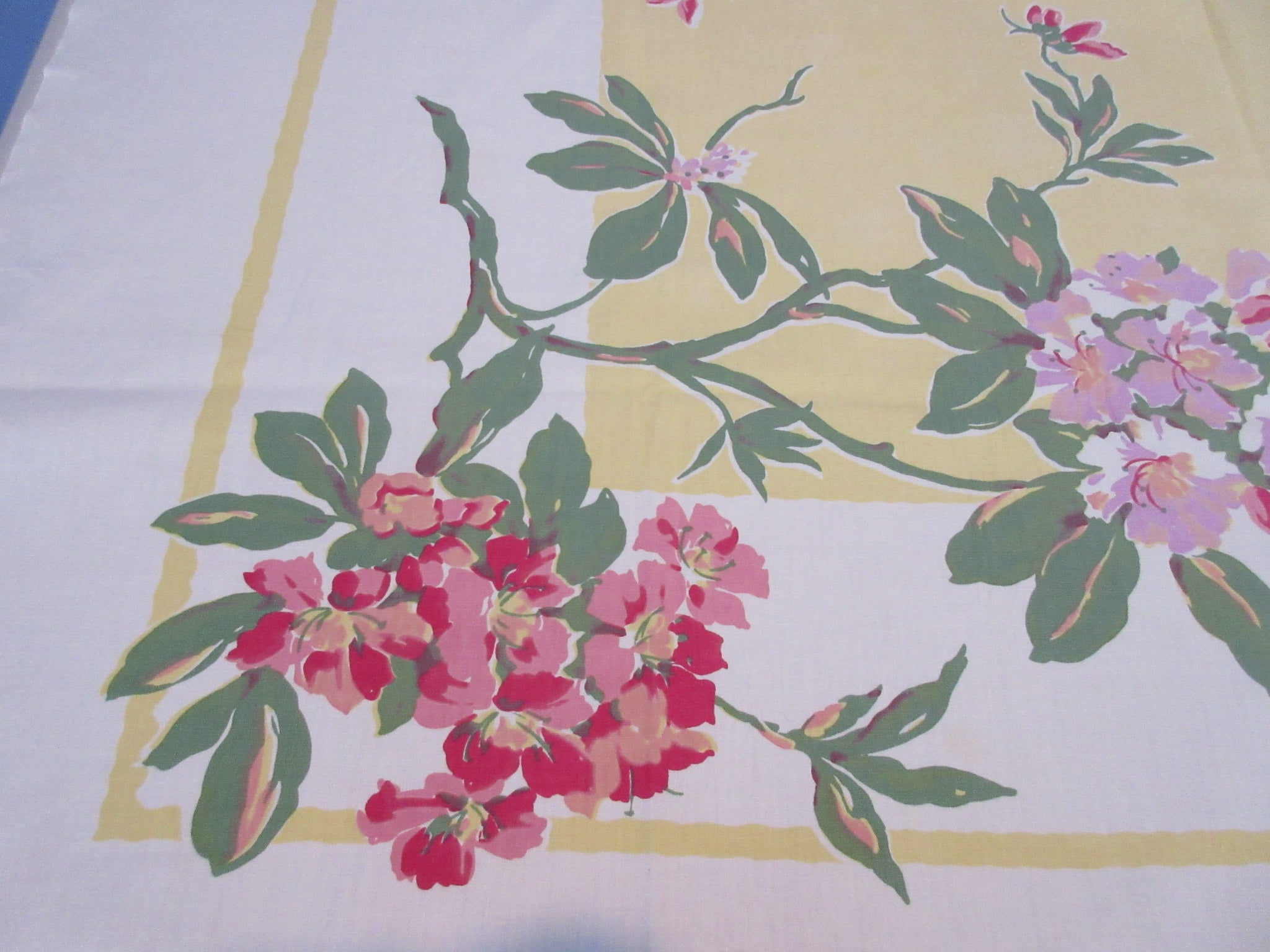 Mauve Purple Rhododendrons on Banana Yellow Floral Vintage Printed Tablecloth (53 X 49)