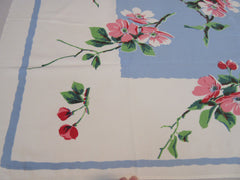 Amazing Pink Green Apple Blossoms on Blue Floral Vintage Printed Tablecloth (56 X 46)