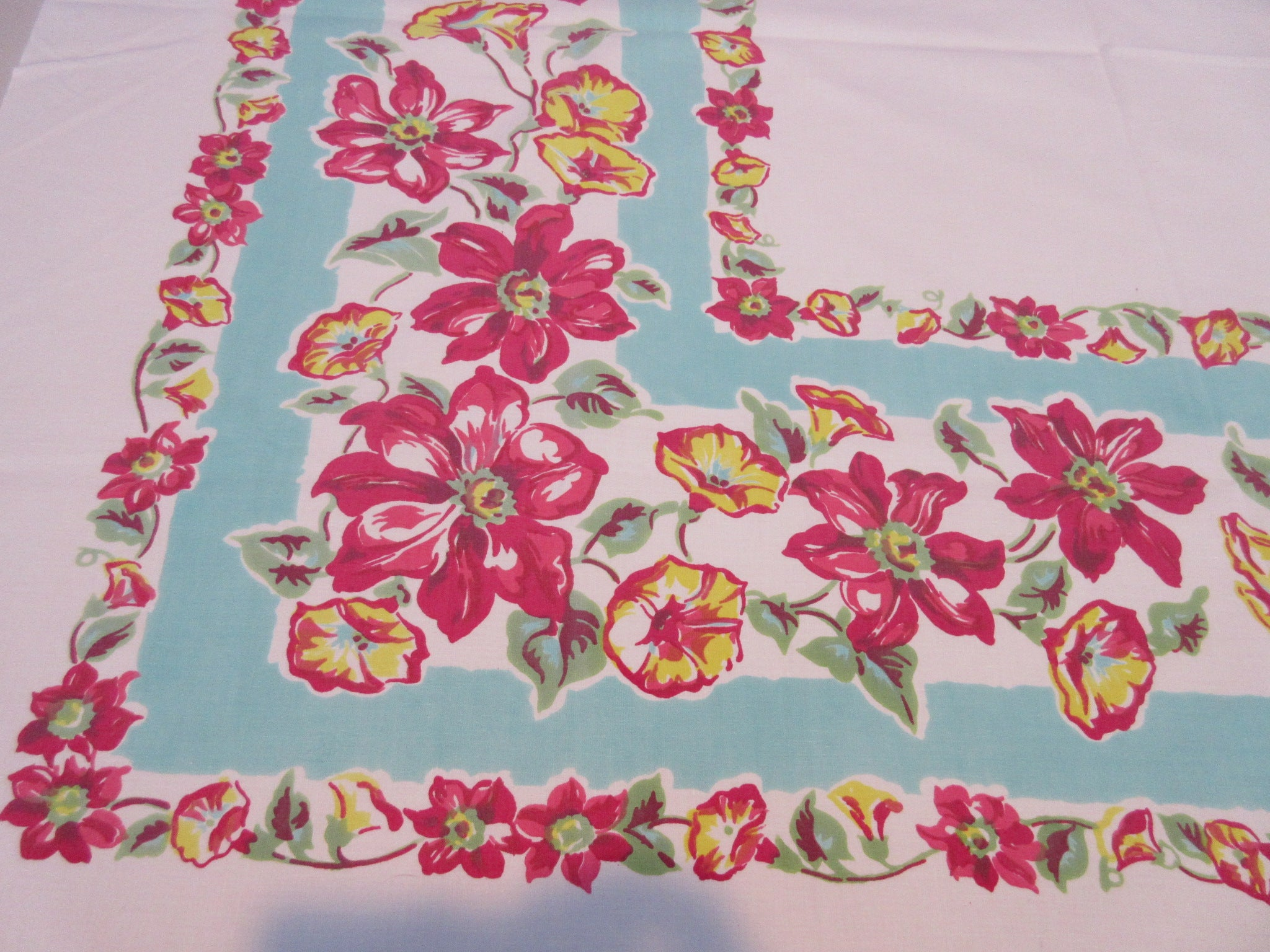 Pink Yellow Clematis Morning Glories on Aqua Topper Floral Vintage Printed Tablecloth (45 X 41)