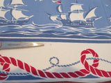 Imperfect Patriotic Sailing Ships Ropes Nautical Novelty Vintage Printed Tablecloth (51 X 48)