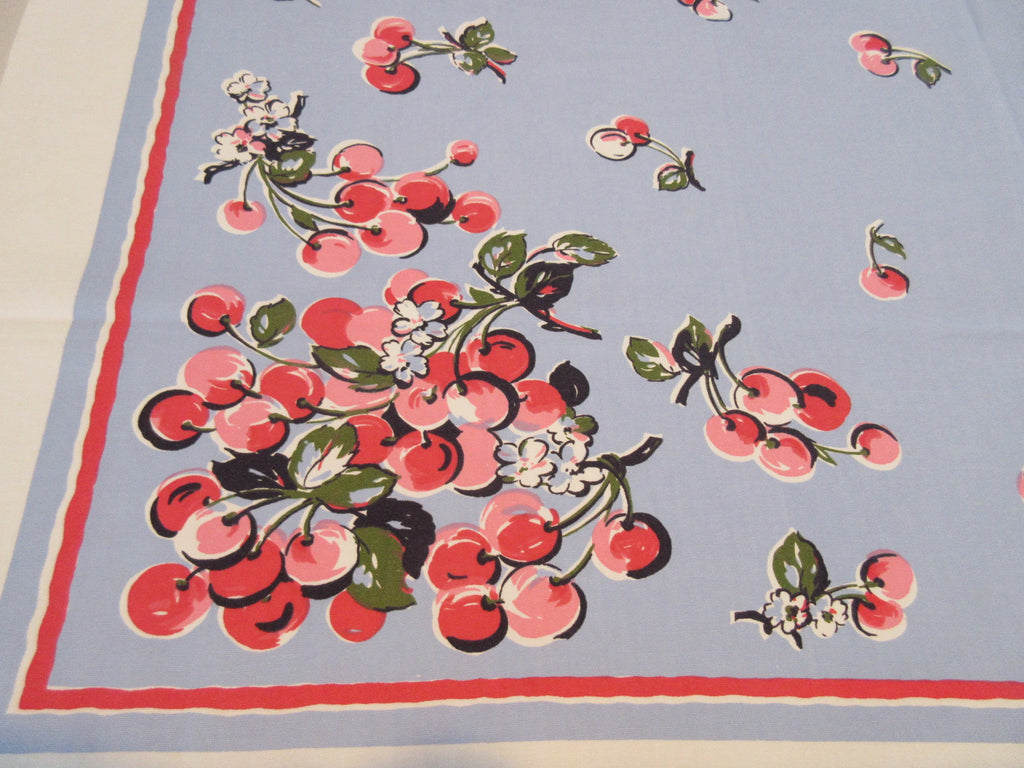 Cherries on Blue Parisian Prints Fruit Vintage Printed Tablecloth (54 X 49)