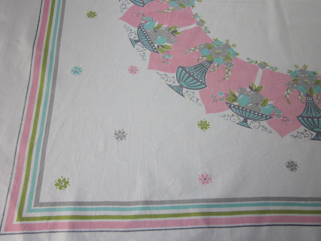 Shabby Pastel Urns on Pink Cutter? Novelty Vintage Printed Tablecloth (53 X 47)