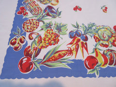 Large Tom Lamb Vegetables Fruit on Blue Vintage Printed Tablecloth (74 X 63)