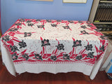 Early Red Black Tulips Confetti Linen Floral Vintage Printed Tablecloth