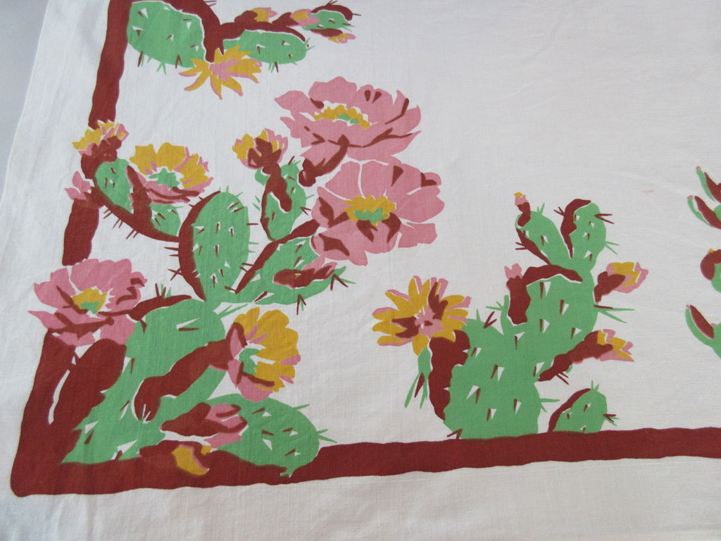 Early Desert Cactus Flower Prickly Pear Novelty Vintage Printed Tablecloth (50 X 48)