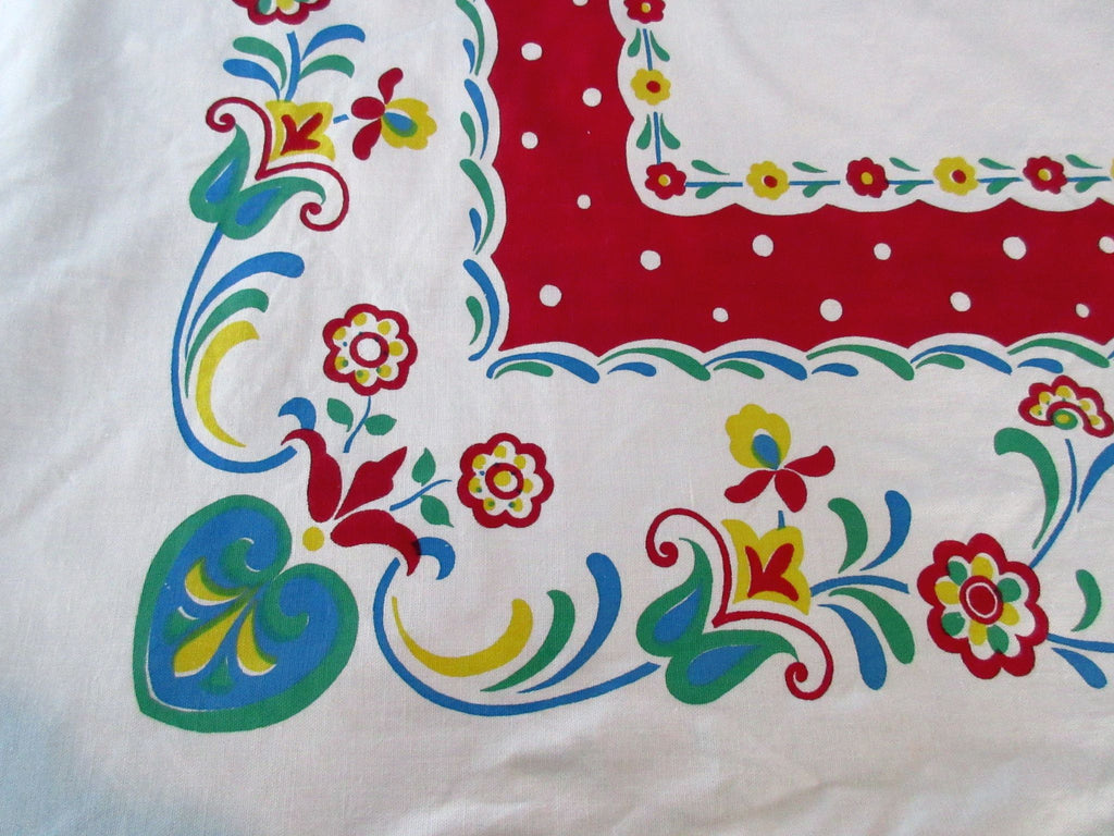 Startex PA Dutch Flowers Hearts Polka Dots Floral Vintage Printed Tablecloth (75 X 61)