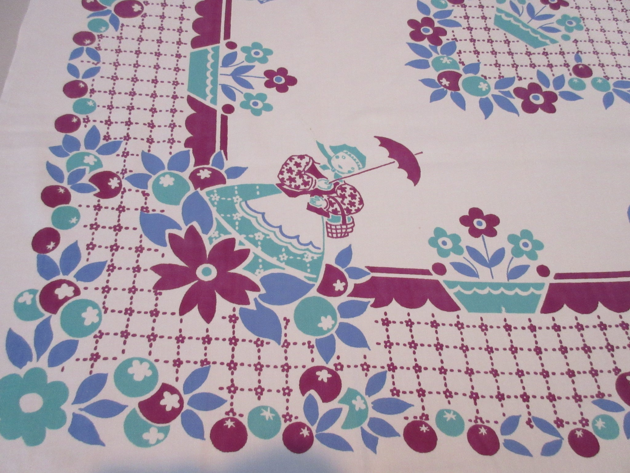 Imperfect Broderie Courting Couples Novelty Vintage Printed Tablecloth (50 X 45)