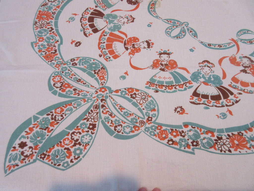Broderie Fall Dancing Ladies Ribbons CUTTER Novelty Vintage Printed Tablecloth (55 X 47)