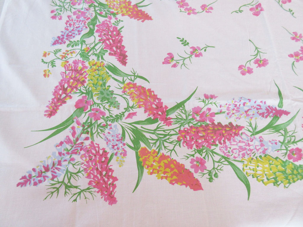Gorgeous but Fragile HTF Pastel Lupins Floral Vintage Printed Tablecloth (50 X 48)