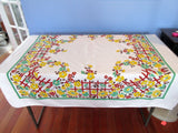 HELD FOR F Climbing Roses Trellis Gate Floral Vintage Printed Tablecloth (46 X 46)