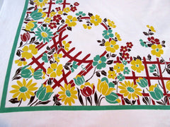 Climbing Roses Trellis Gate Floral Vintage Printed Tablecloth (46 X 46)